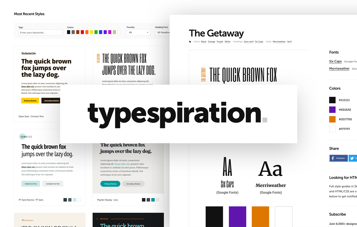 typespiration com - A showcase of web typography designs